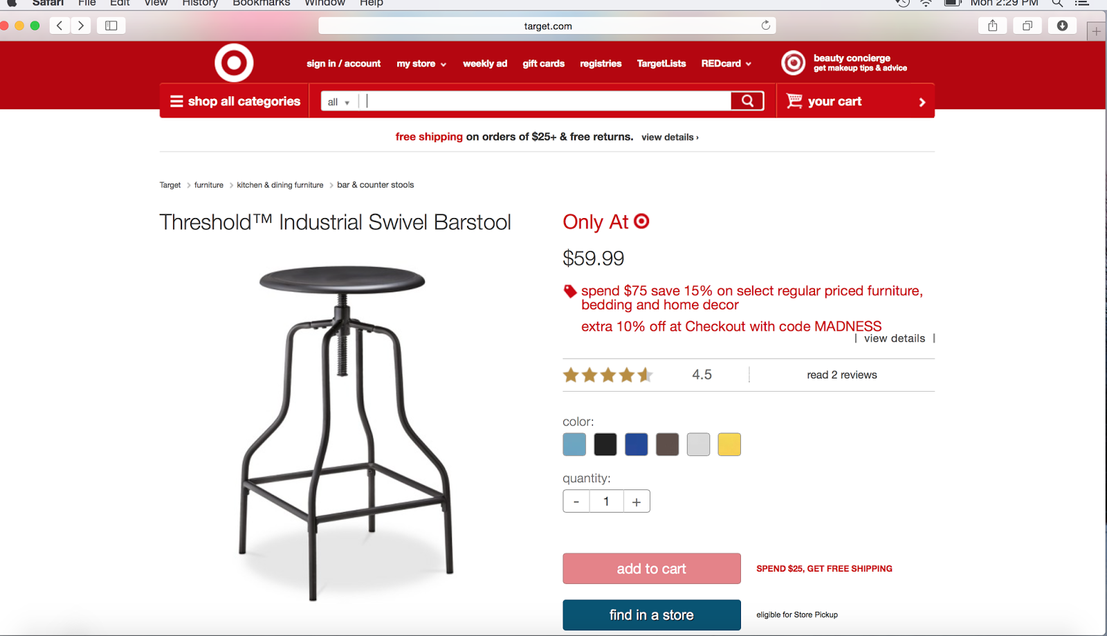 Target threshold industrial swivel bar stool screen shot