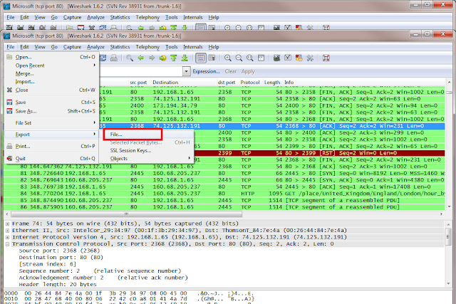 Exporting a Wireshark capture to a file