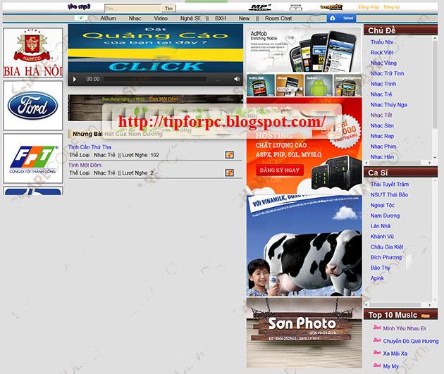 Source code Web Nghe nhạc và xem Video online Asp.Net
