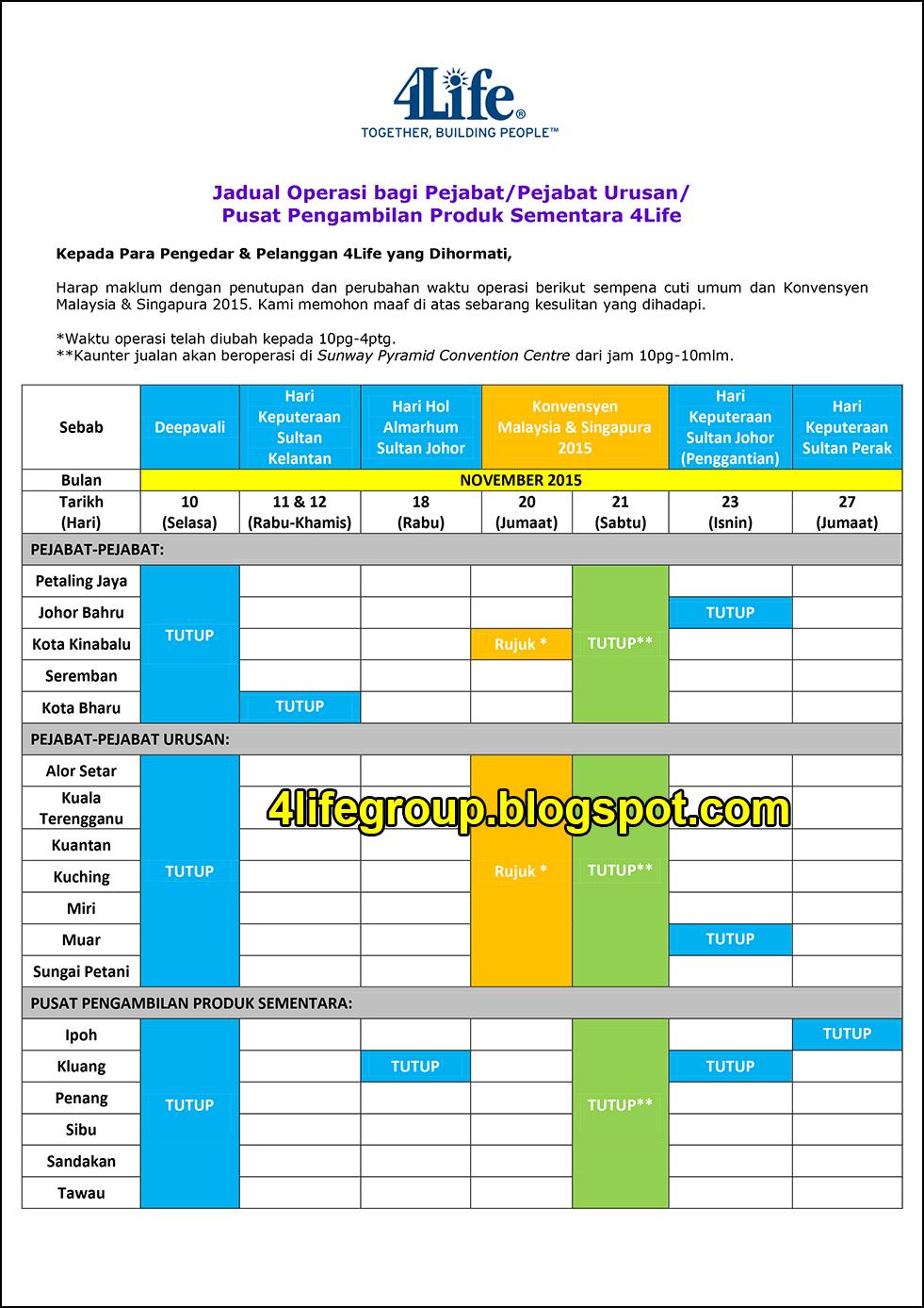 foto Jadual Operasi Bulanan November 2015 4Life Malaysia