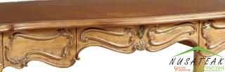 Brown Carved French Desk 2 - Nusa Teak