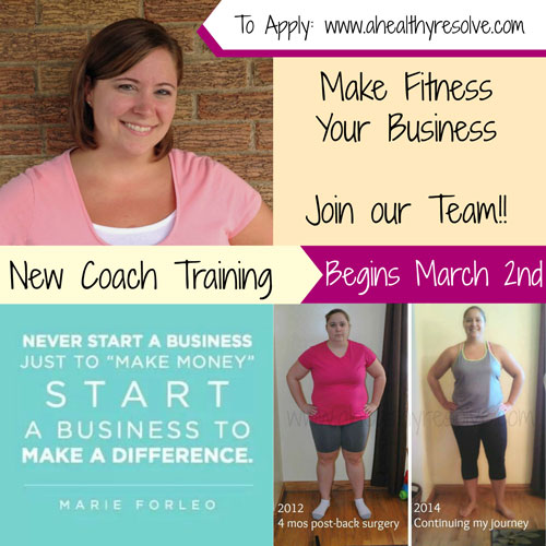 Make Fitness Your Business!!  Now accepting applications for my New Coach Training Program!  To Apply: www.ahealthyresolve.com