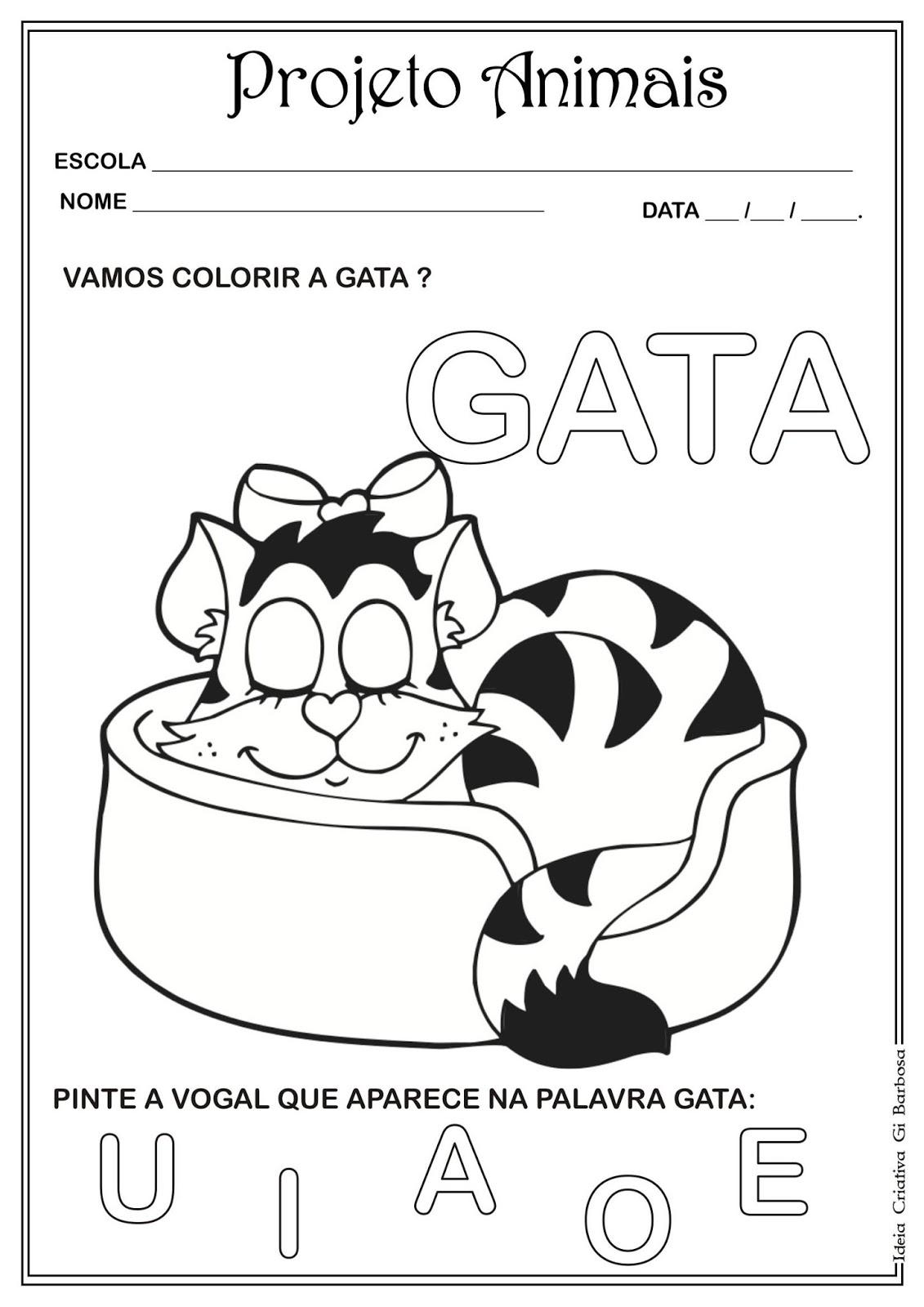 Amado Atividade Projeto Animais Vogais | Ideia Criativa - Gi Barbosa  BZ22