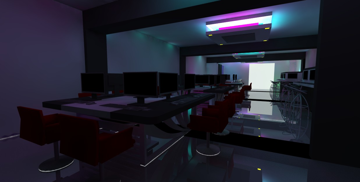 Qswitch 3d structure design interior design for cyber cafe for Internet cafe interior designs