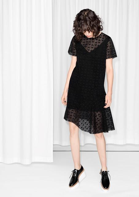 stories black loose dress, devore dress,