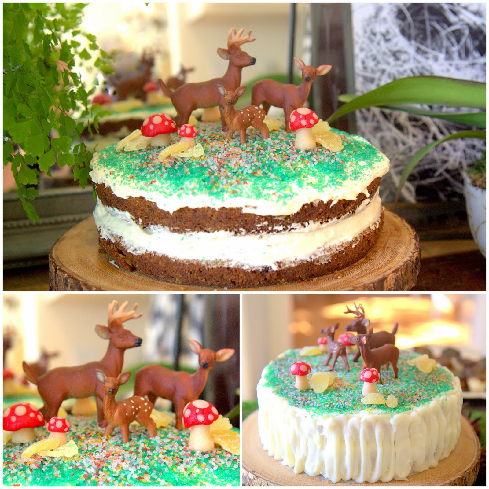 Woodland Party; Deer cakes, marzipan mushrooms, carrot cake and vanilla cake; dessert, party food: Nora's Nest