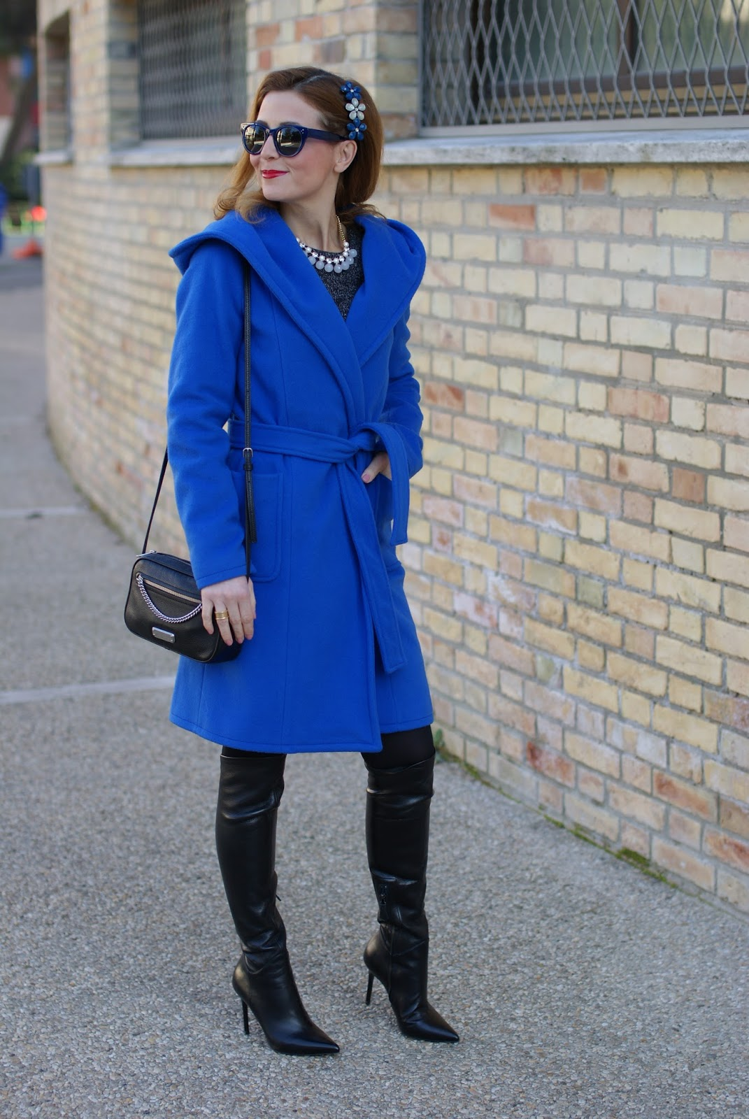 Stefanel Wrap hooded coat and over the knee boots on Fashion and Cookies fashion blog, fashion blogger style