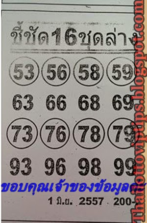 Thai Lotto VIP Tips | Thai Lotto Down Tip Paper 01-06-2014