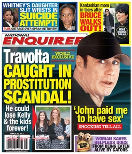 According to National Enquirer, Travolta contacted a male massage therapist ...