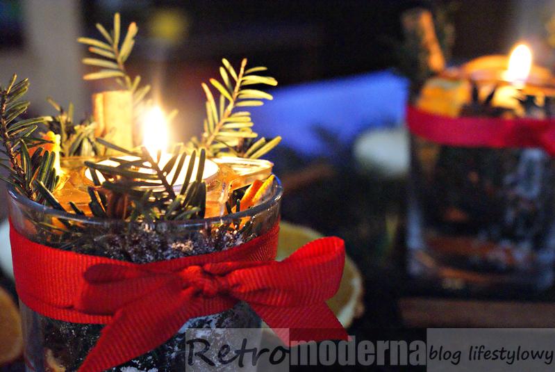 świeczniki świateczne DIY