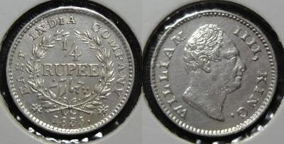 william 1/4 rupee f raised
