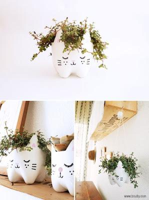 Lucunya vas bunga bentuk kucing ini