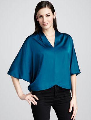 Blusas de Cetim azul
