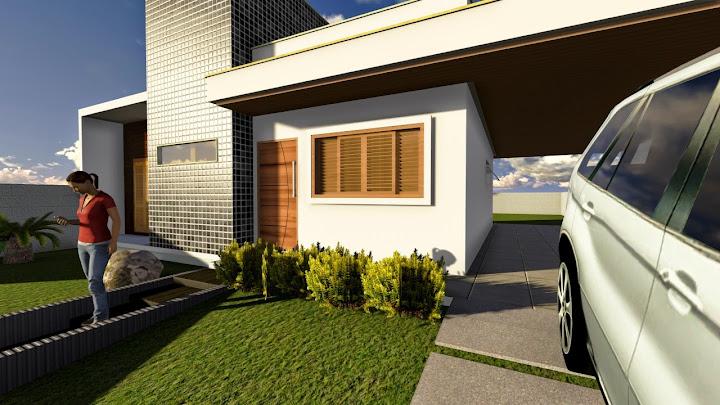 Fachada de casa simples urbana