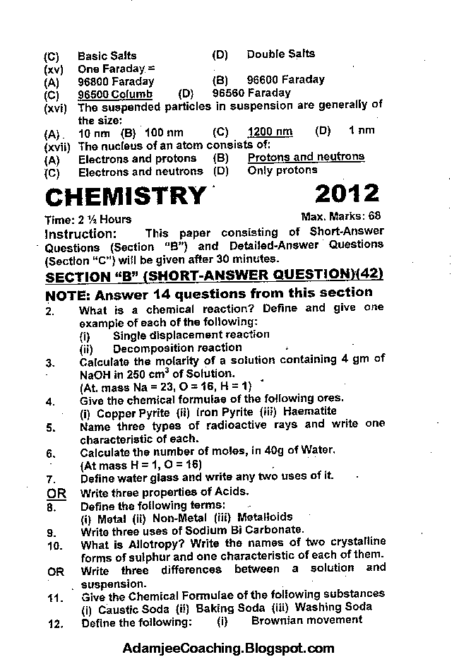 Chemistry Past Year Paper 2012