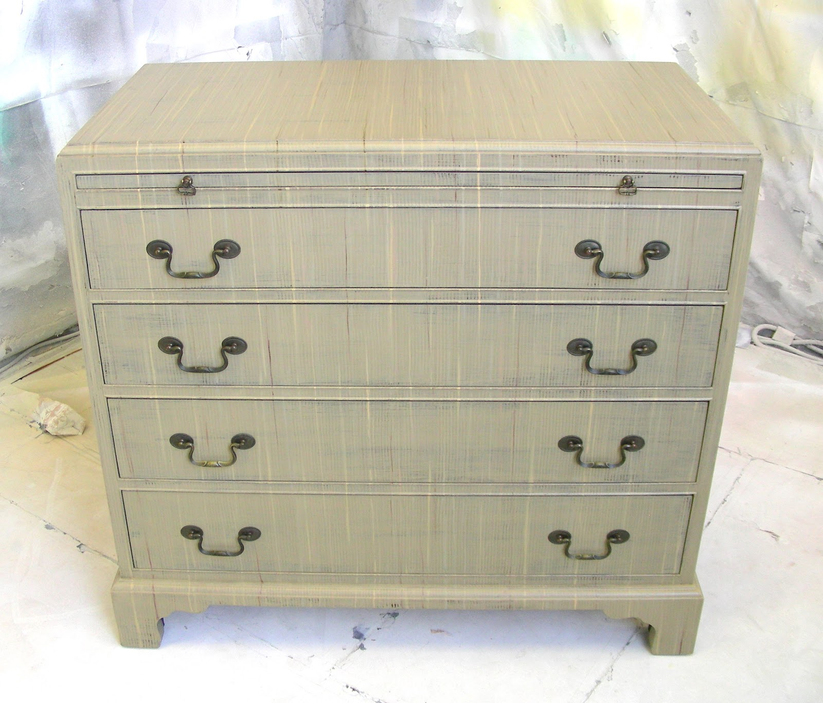 Sydney Barton Painted Furniture Taupe Five Drawer Chest