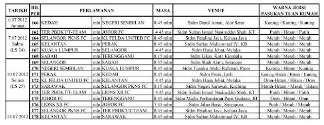 Jadual Perlawanan Liga Super 2012