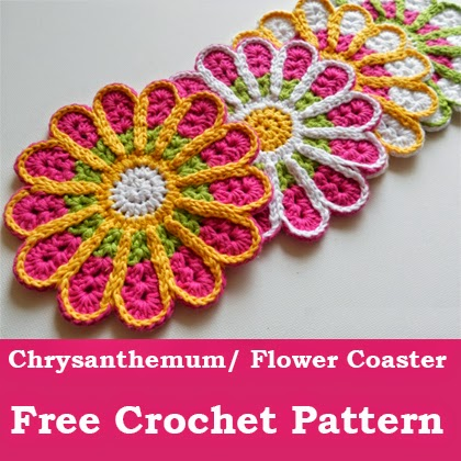 Chrysanthemum/ Flower Coaster – Free Crochet Pattern