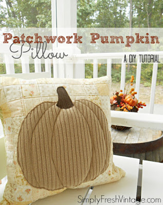 http://www.simplyfreshvintage.com/2014/09/19/patchwork-pumpkin-pillow/