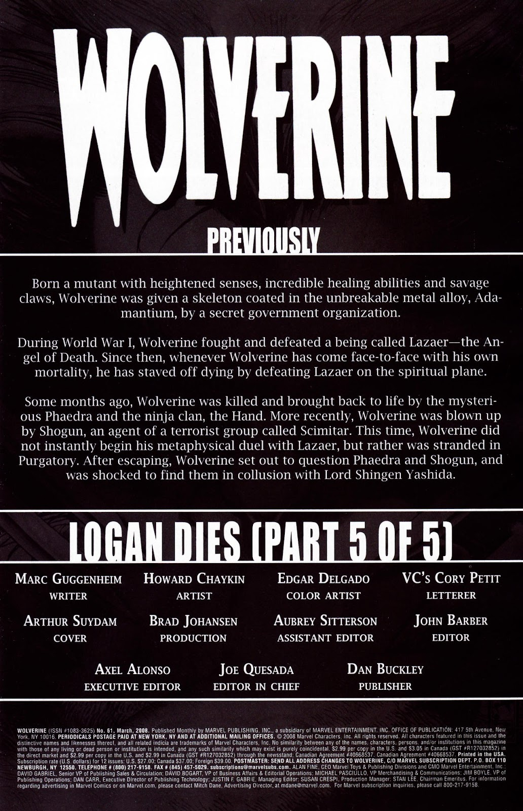 Read online Wolverine (2003) comic -  Issue #61 - 2