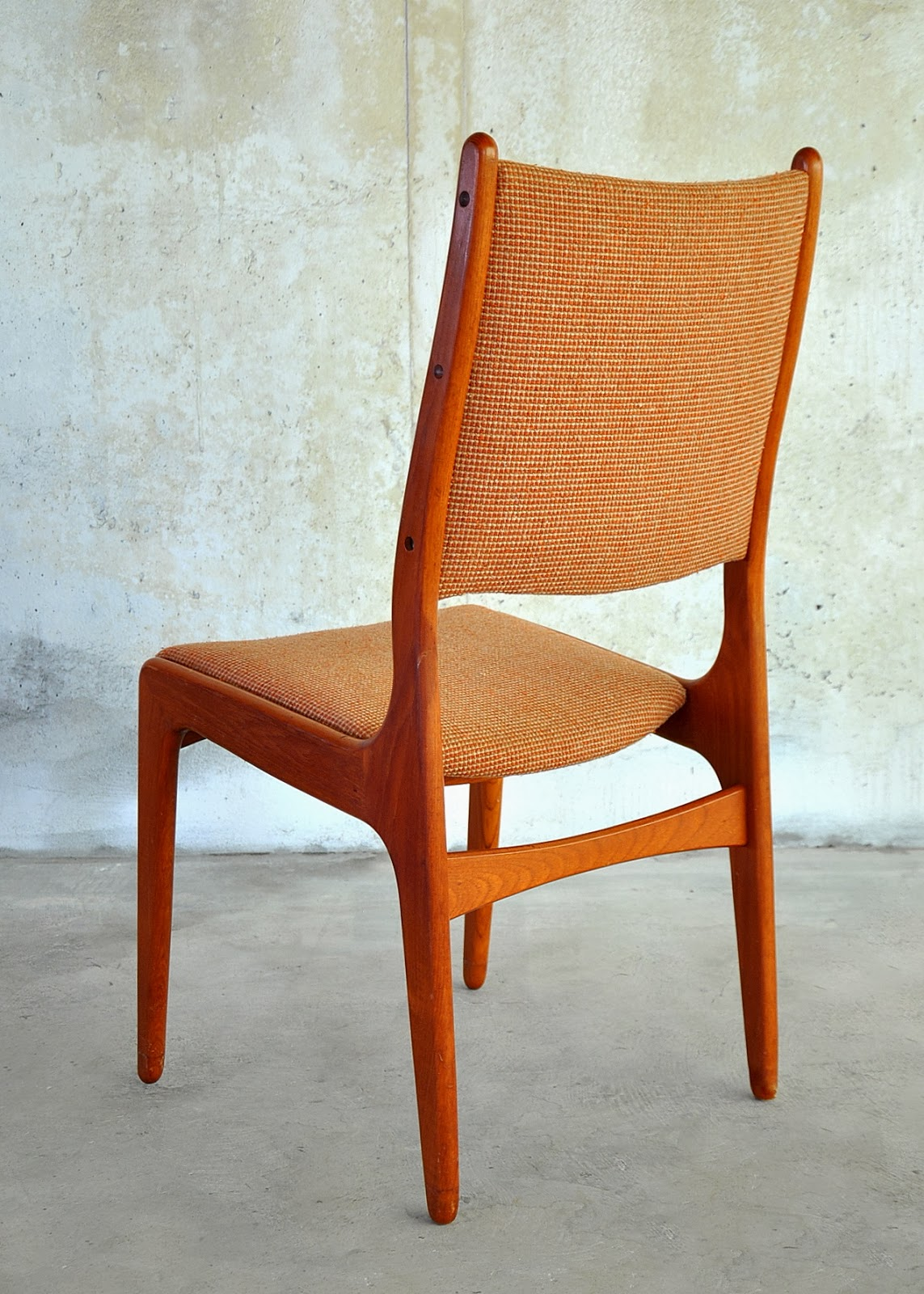 Select modern set of 6 danish modern teak dining chairs for Modern style dining chairs