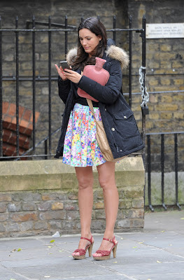 Kelly Brook Upskirt on Set of 'Taking Stock' in London
