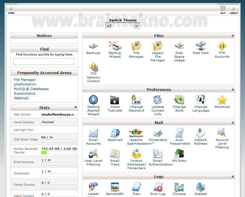 Dashboard Cpanel - Cara menghosting website