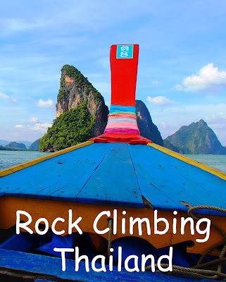 Travel the World: Rock climbing is a popular activity in Thailand. Rock climbing Ko Panyi in Phang Nga Bay also provides great views of the Muslim fishing village below.