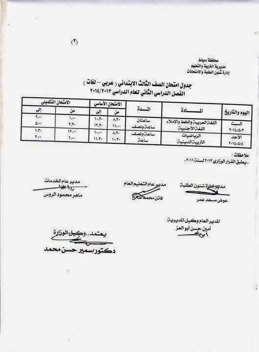 جدوال امتحانات الترم الثانى 2014 محافظة دمياط جميع المراحل الدراسية 10155697_55711243107