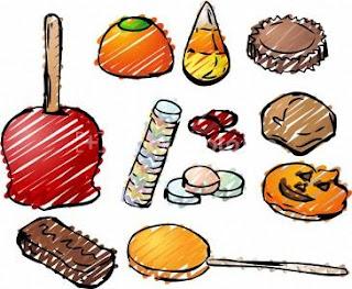 halloween en galletas, caramelos y piruletas