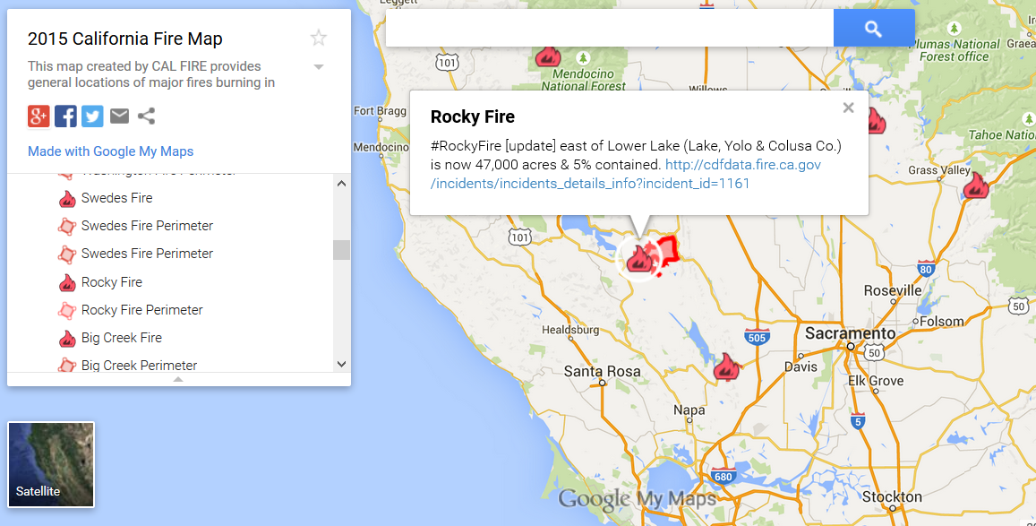 google maps and cal fire created this california fires map