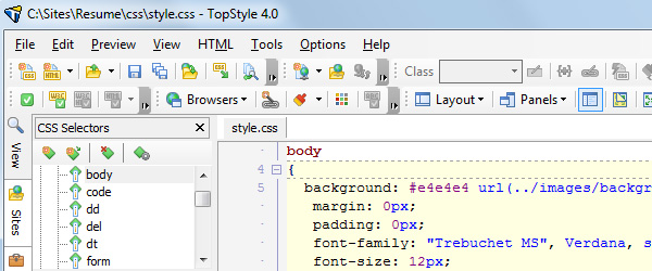 TopStyle 4 for Windows
