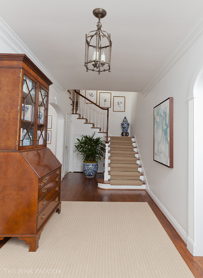 Entrance hall transformation for the One Room Challenge using Farrow & Ball All White paint, Karastan Carpets and a Christina Baker Painting