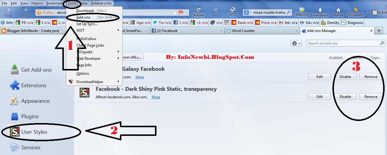 Menormalkan kembali tema facebook