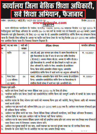 UP Faizabad SSA Latest Warden & Care-taker Job Advertisement June 2015