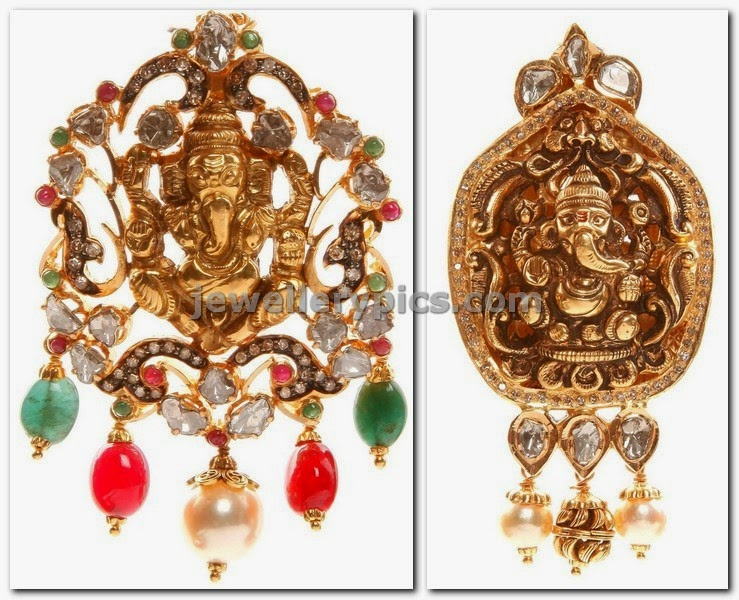 god ganesha pendents in gold and uncuts