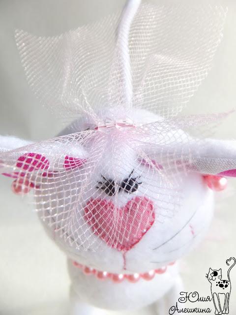 Свадебные котики. Горошковые ушки - невеста. Фата