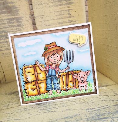 digi stamp, digital stamp, farm, pig, girl, haystack, pitch fork, stamp, card making, crafting