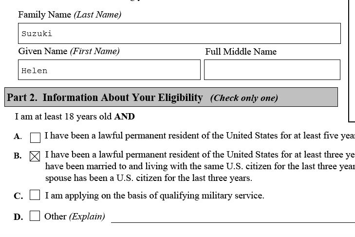 Americans Are Us Completed Form N Sample For Naturalization