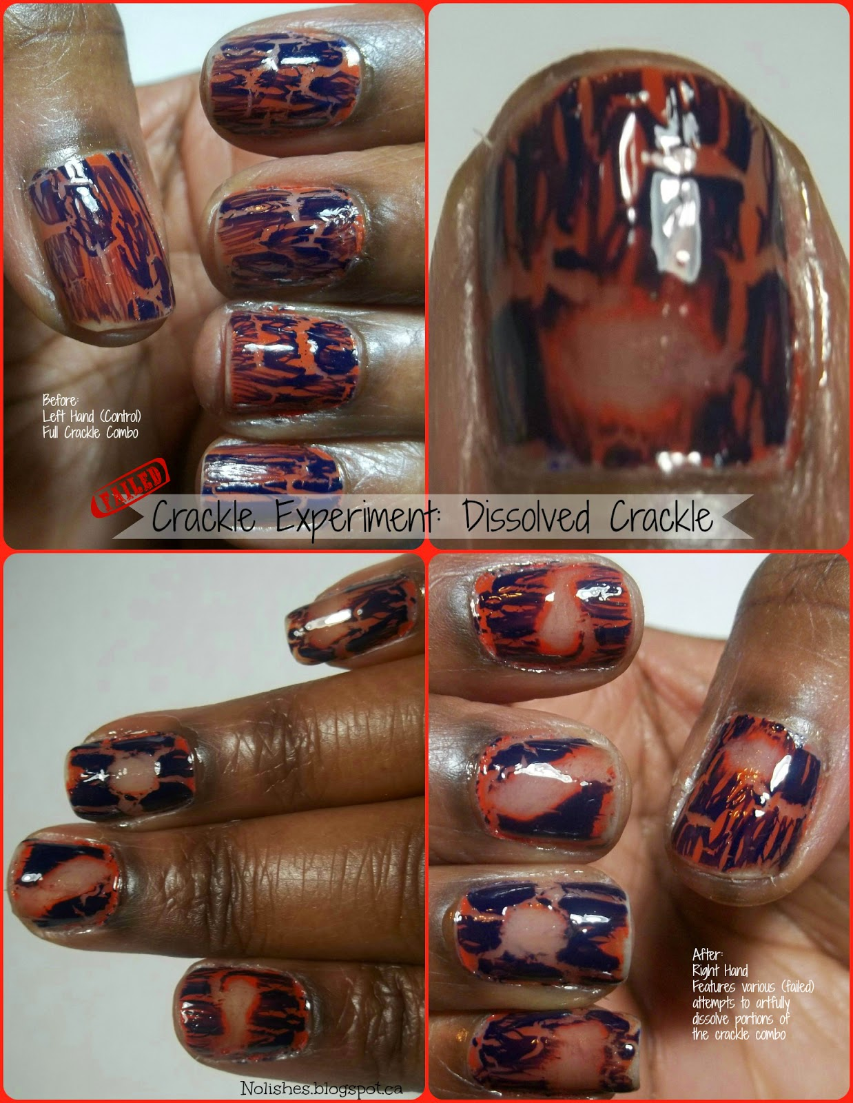 Collage showing the results of a manicure experiment in which a manicure with an orange base covered in royal blue crackle top coat, was subjected to various attempts to remove sections of the polish (using nail polish remover), in a way that was pleasing to the eye - the experiment failed.