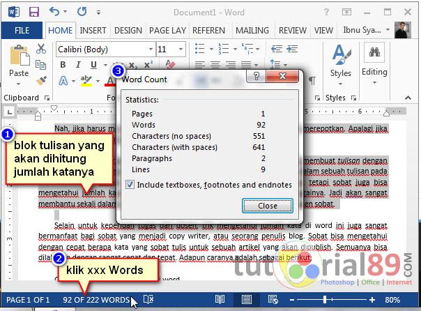 Cara cepat menghitung jumlah kata di word