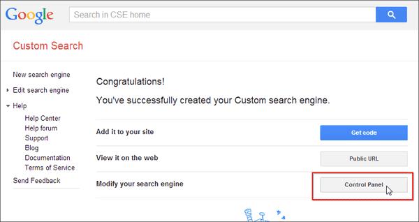 Halaman Sukses Menambahkan Google Search Engine