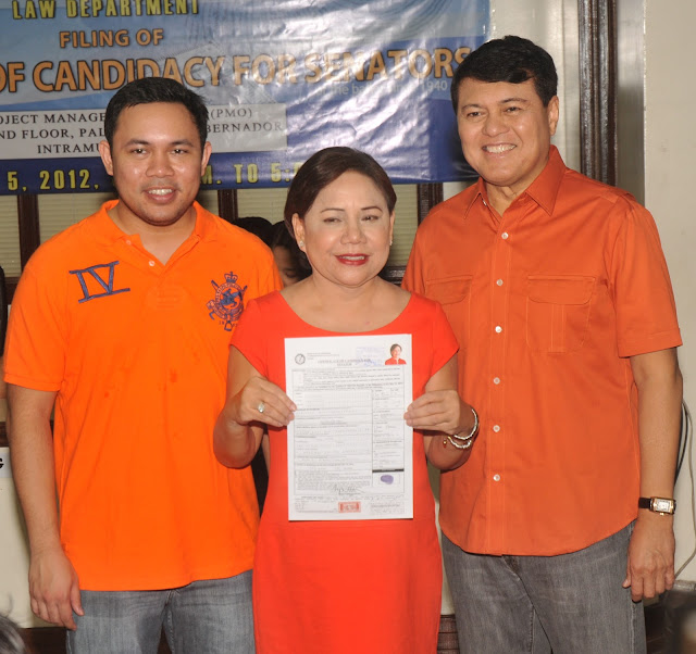 Misis Cynthia Villar files Certificate of Candidacy (CoC) for Senator