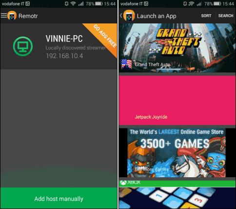 Remotr app Android lista giochi PC