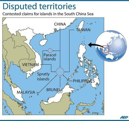 AFP News - Map showing the disputed Paracel and Spratly islands in the South China Sea. Vietnamese immigration officers say they are refusing to stamp entry visas into controversial new Chinese passports which feature a map of Beijing's claim to almost all of the South China Sea