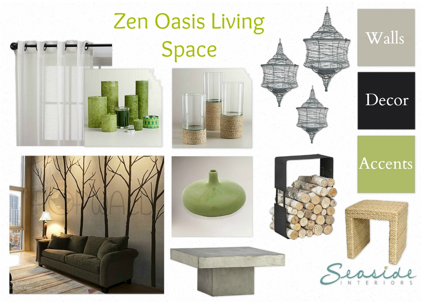 Zen/Spa Retreat Living And Dining Room Mood Board 2 Ways!
