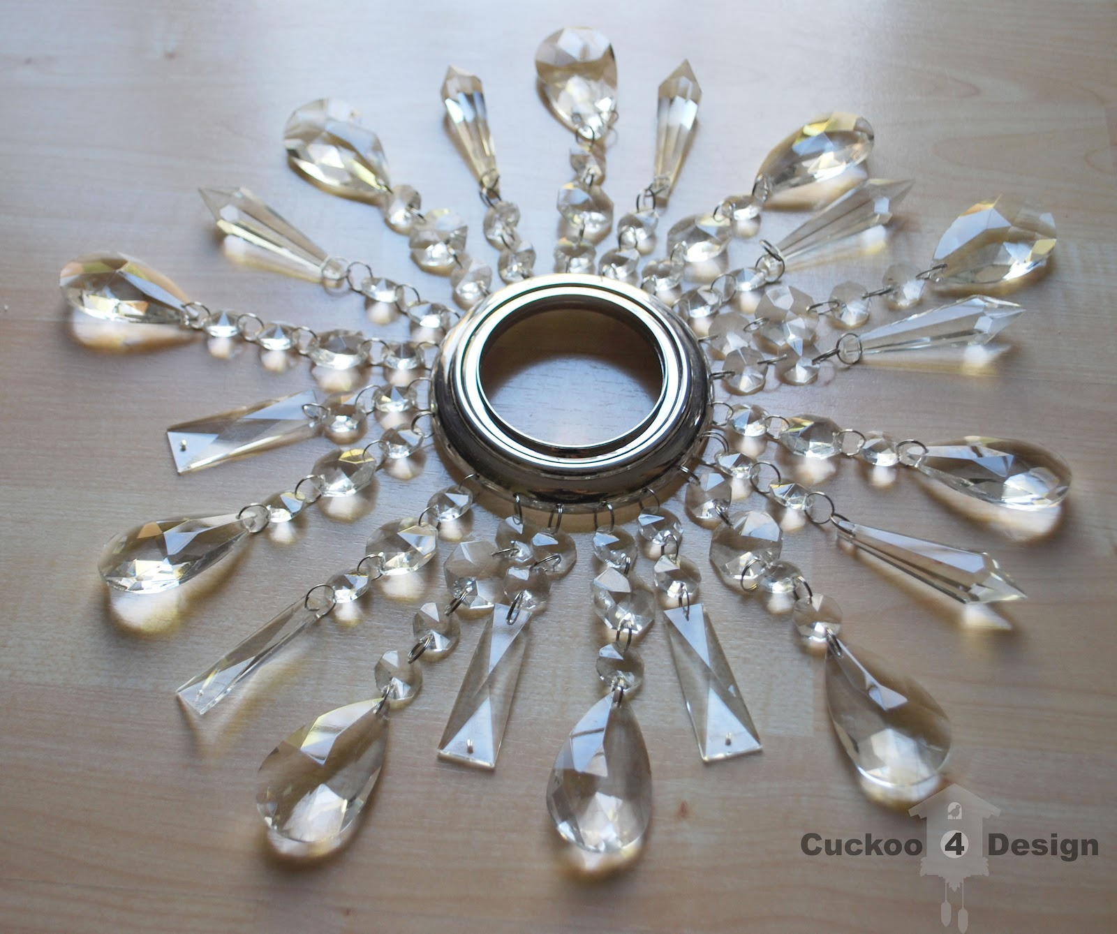 Diy crystal vanity shades cuckoo4design for How to make your own light fixture