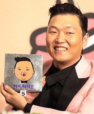 Psy Korea review with animated self
