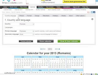 Generator calendar - TimeAndDate.com - tara si limba