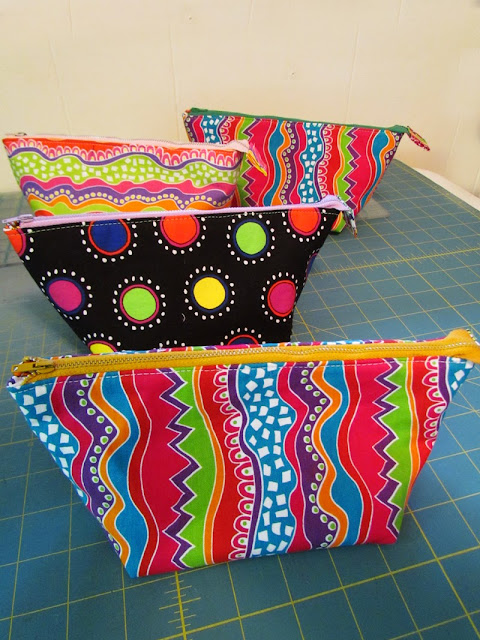 wide mouth zippered pouch with Diane Springer fabric